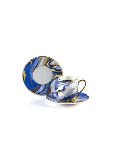 Sembol Lacivert-Gold Okyanus Desen Porselen Kahve Fincan Takımı Renkli